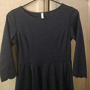 Navy maternity dress with scalloped edges